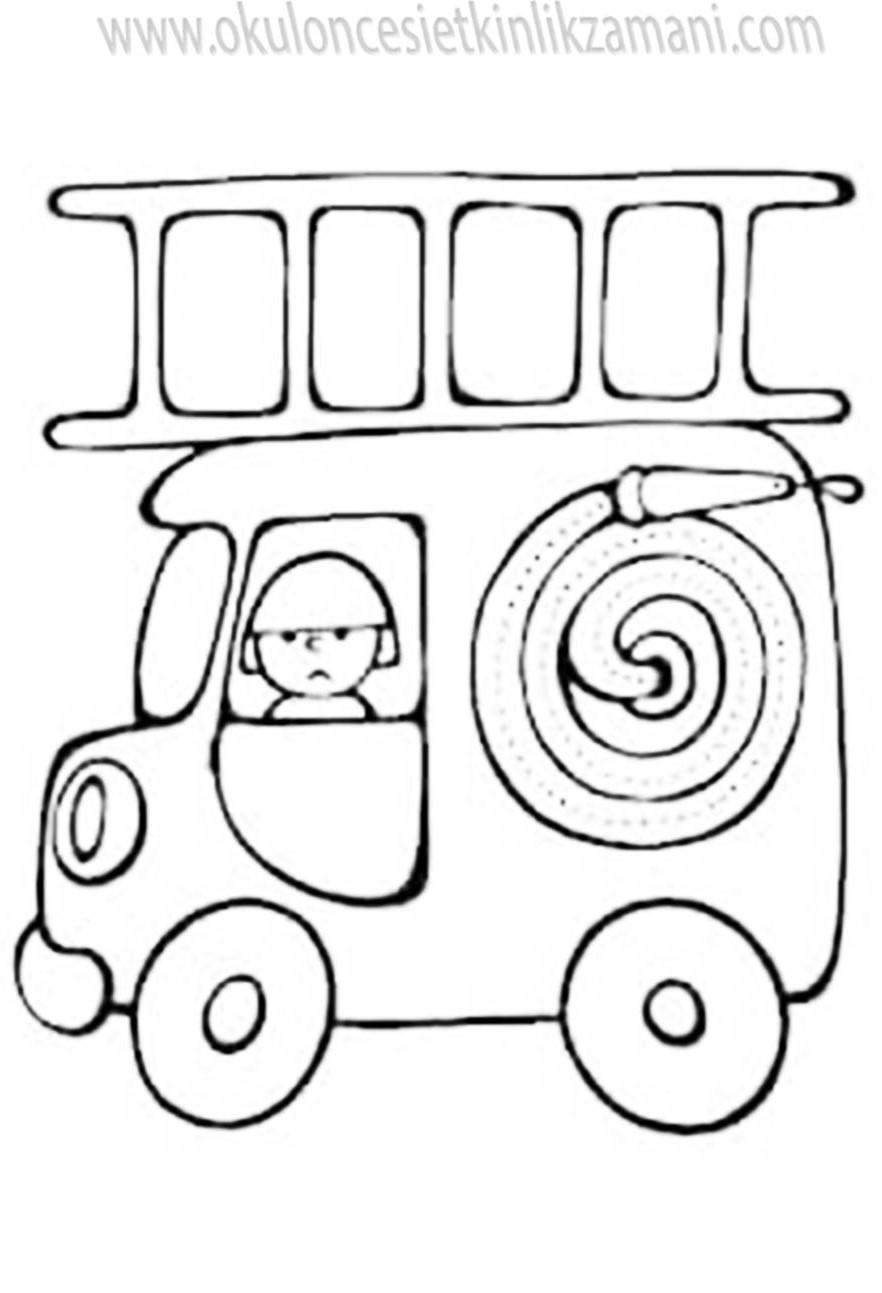 Itfaiye Arabasi Boyama Okul Oncesi Etkinlik Zamani