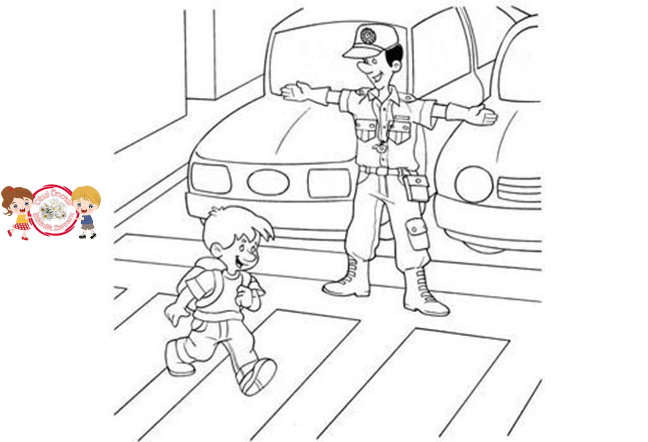 Trafik Kurallari Boyama Okul Oncesi Etkinlik Zamani